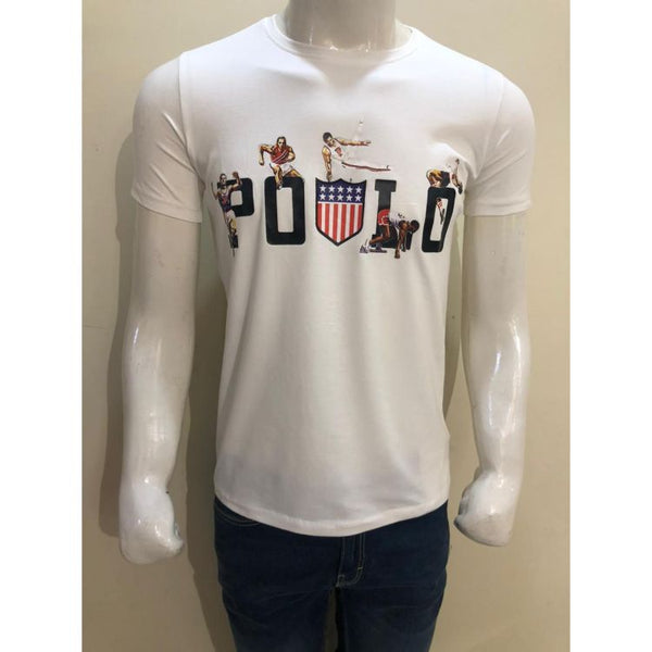RL Digital Printing Lycra Cotton Jersey T Shirt White