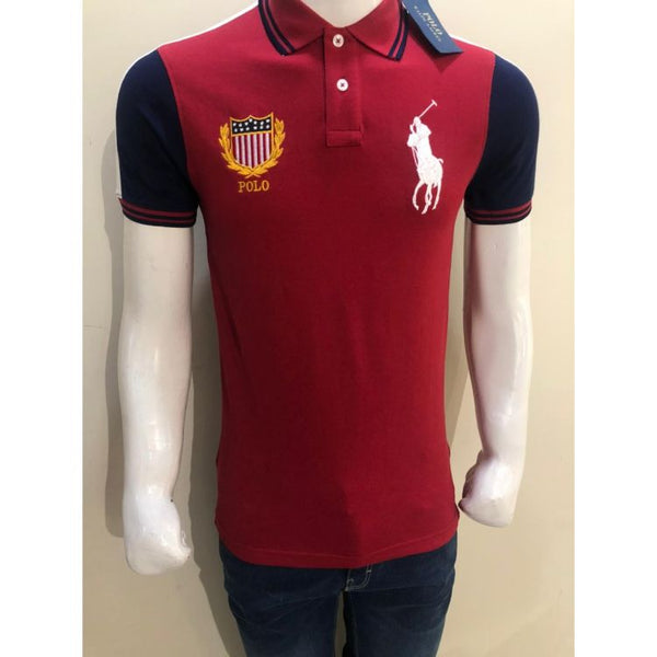 RL Big Pony Contrast Color Red Polo Shirt