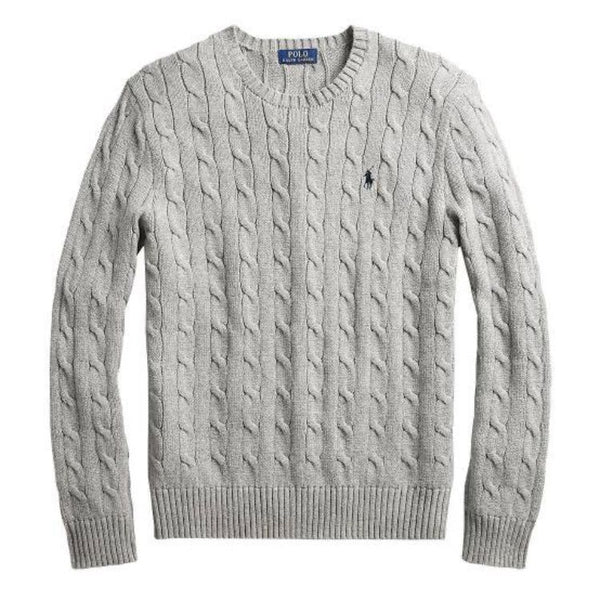 RL Cable Knit Cotton Sweater Grey