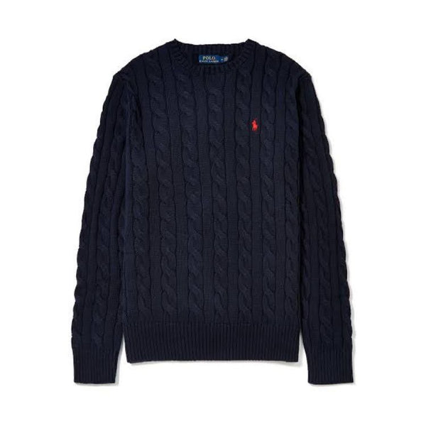 RL Cable Knit Cotton Sweater Navy
