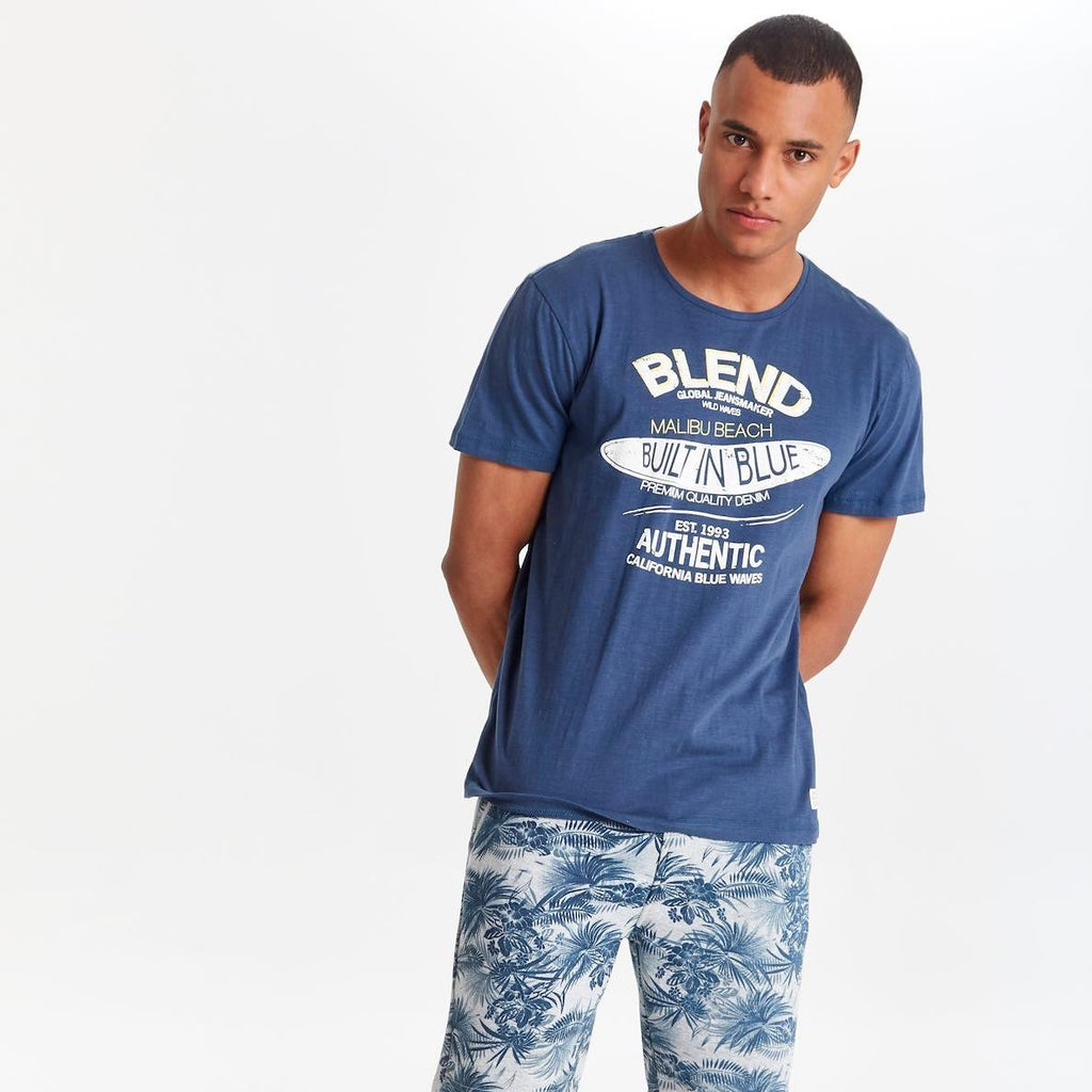 Blnd Navy Blue Crew Neck T-Shirt