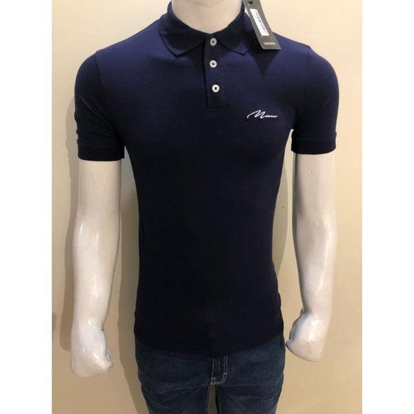 BHMAN Muscle Fit Polo Shirt Blue