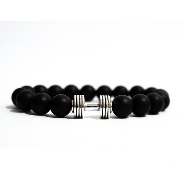 Square Black Beaded Dumbbell Bracelet Style 2