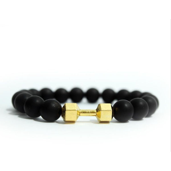 Square Black Beaded Dumbbell Bracelet Golden