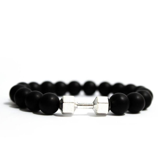Square Black Beaded Dumbbell Bracelet