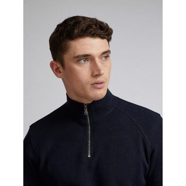 Burtn Half Zip Funnel Jumper Navy