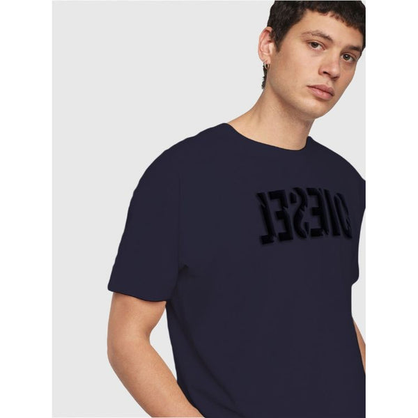 Diesl Crew Neck Embossed Logo T-Shirt Navy