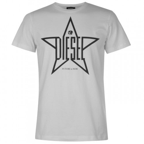 Diesl Crew Neck Star T-Shirt Grey