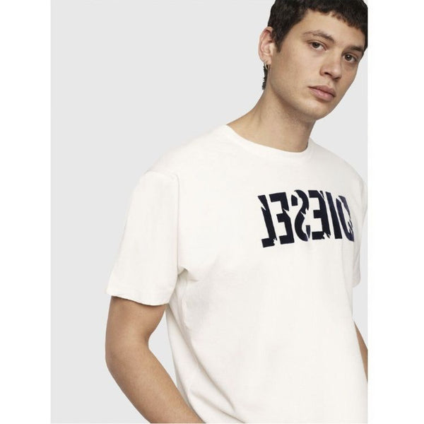 Diesl Crew Neck Embossed Logo T-Shirt White