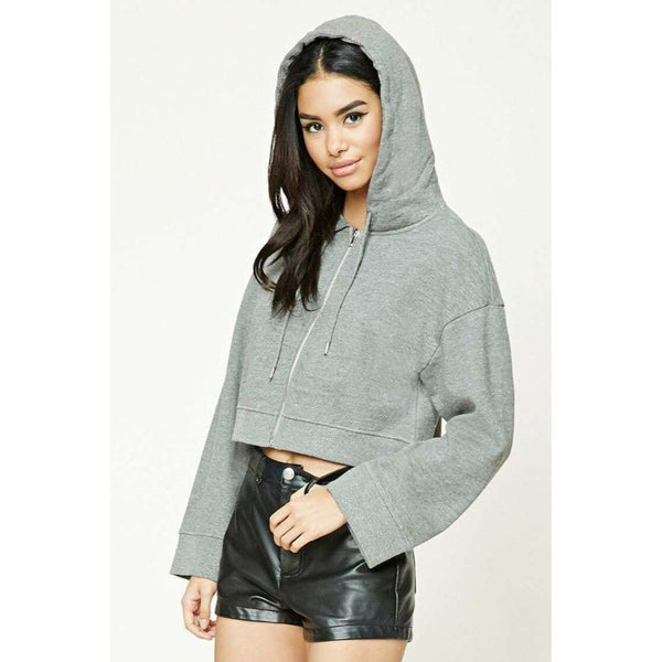 F21 Olive Green Short Body Hoodie