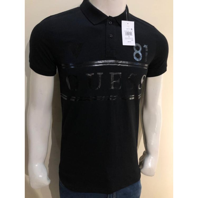 GU Embroidered Logo Black Polo Shirt