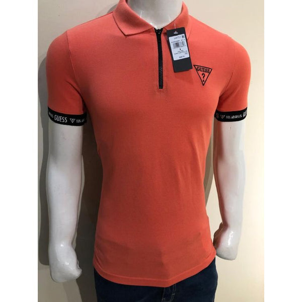 GU Zip Collar Orange Polo Shirt