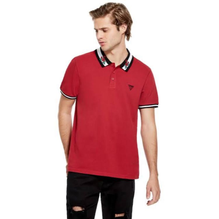 GU Floral Embroidered Collar Red Polo Shirt