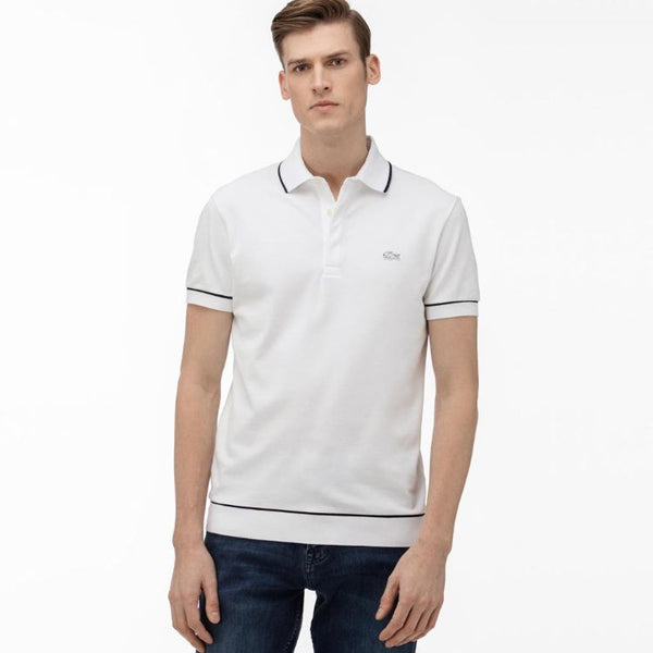 Lcoste Men's White Tipping Polo Shirt