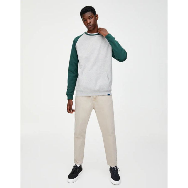 Pnb Contrasting Raglan Sleeve Sweatshirt Light Grey