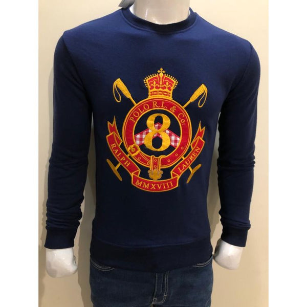 RL EMBROIDERED 8 CREST COTTON JERSEY SWEATSHIRT NAVY