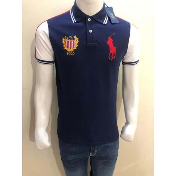 RL Big Pony Contrast Color Navy Polo Shirt