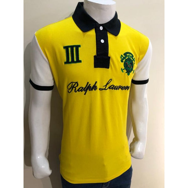 RL Badge Polo Shirt Blue and Yellow
