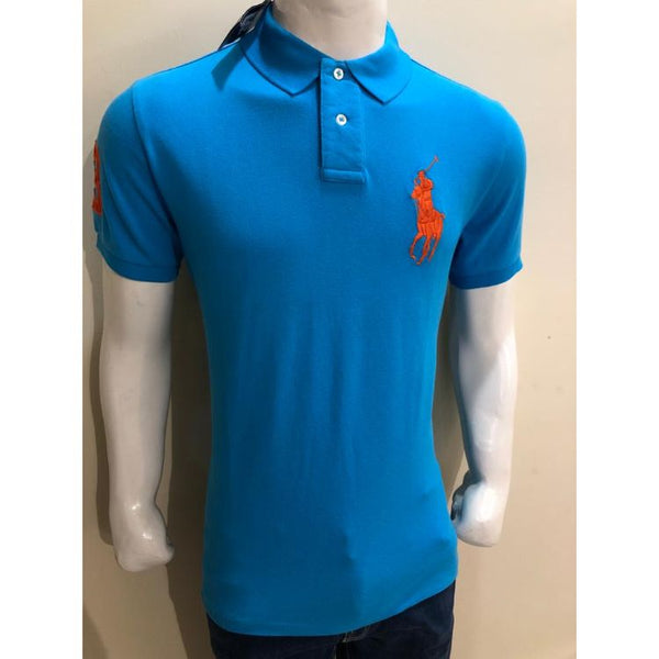 RL Big Orange Pony Polo Shirt Sky Blue