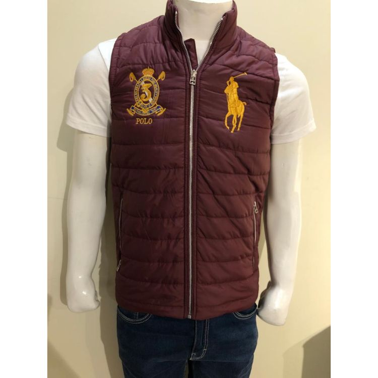 RL Puffer Sleeveless Jacket Maroon