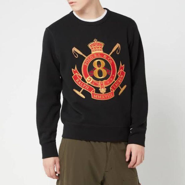 RL EMBROIDERED 8 CREST COTTON JERSEY SWEATSHIRT BLACK
