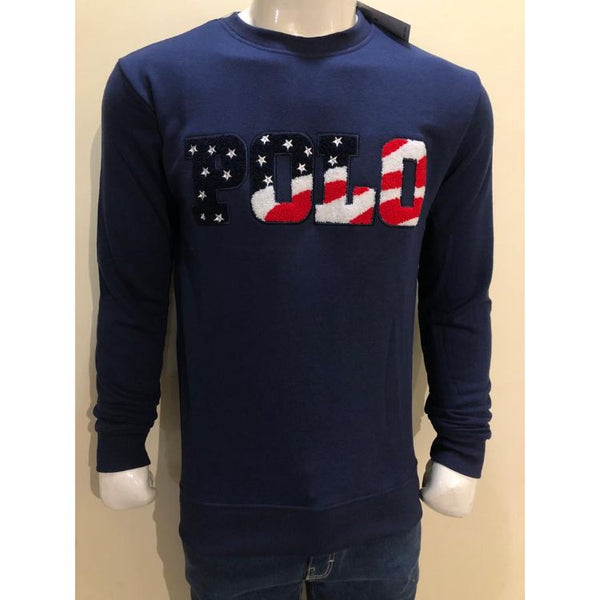 RL EMBROIDERED LYCRA COTTON JERSEY SWEATSHIRT NAVY