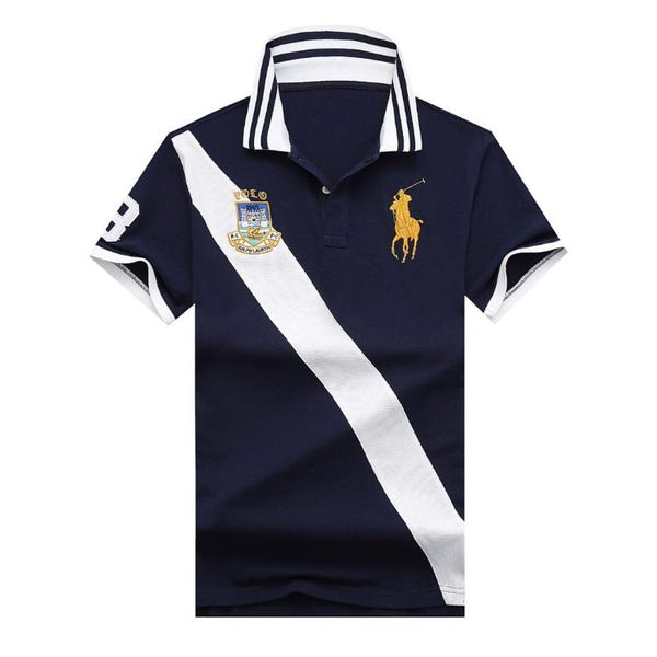 RL Big Pony Vertical Stripe Black Polo Shirt