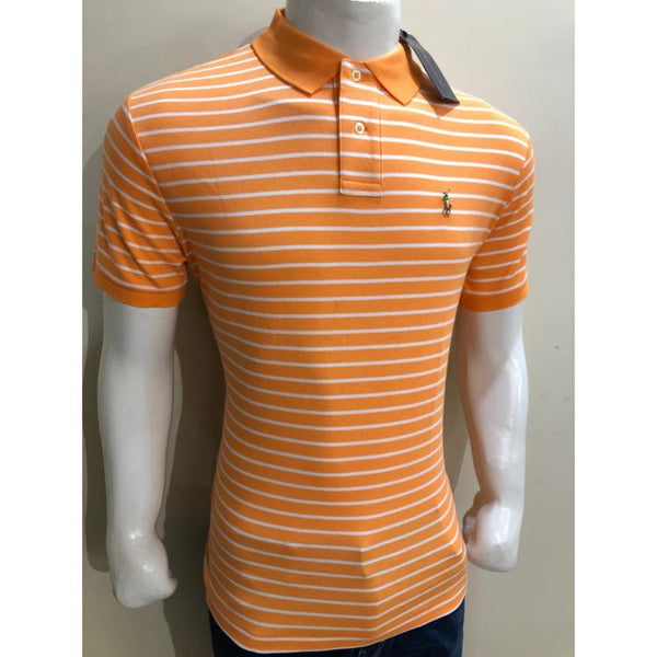 RL Small Pony Stripes Polo Shirt Orange