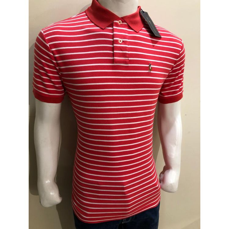 RL Small Pony Stripes Polo Shirt Red