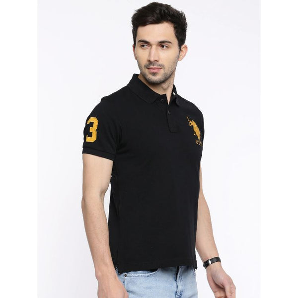 U.S. Polo Assn. Men's Black Pique Polo Shirt