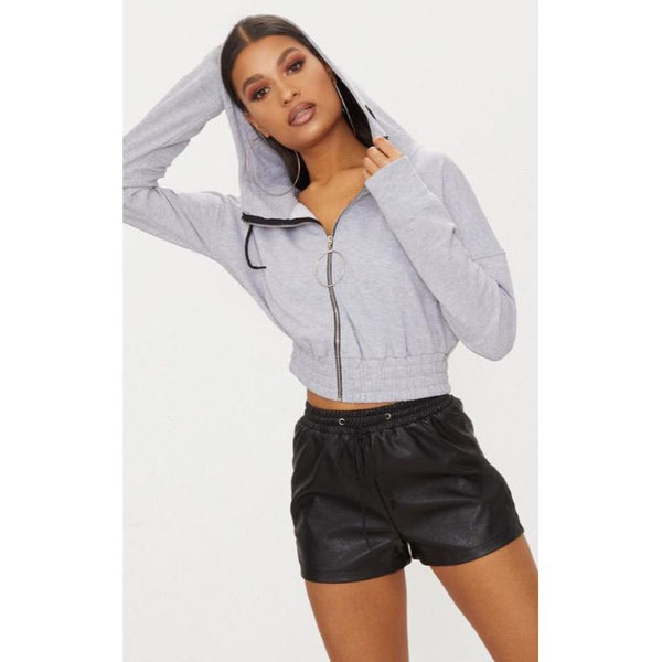Prettylittlething Short Body Zip Up Hoodie Grey