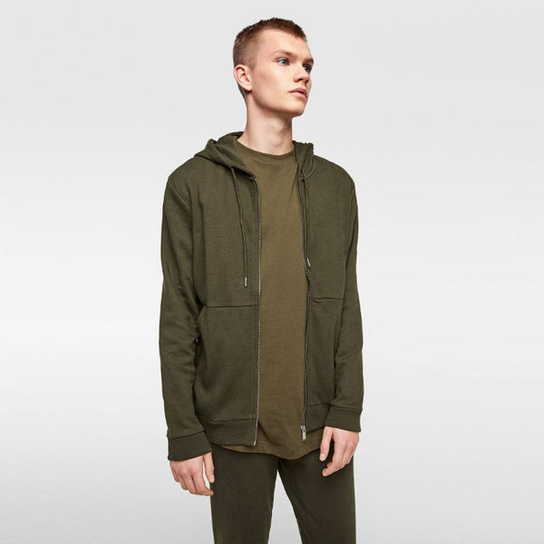 ZR Olive Green Zip-up Hoodie