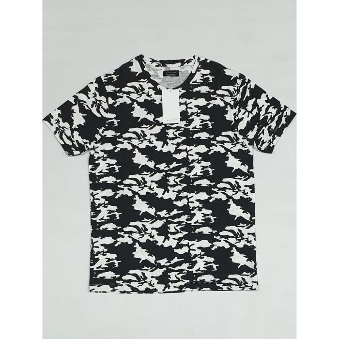 Zara Man Black Camouflage T-Shirt