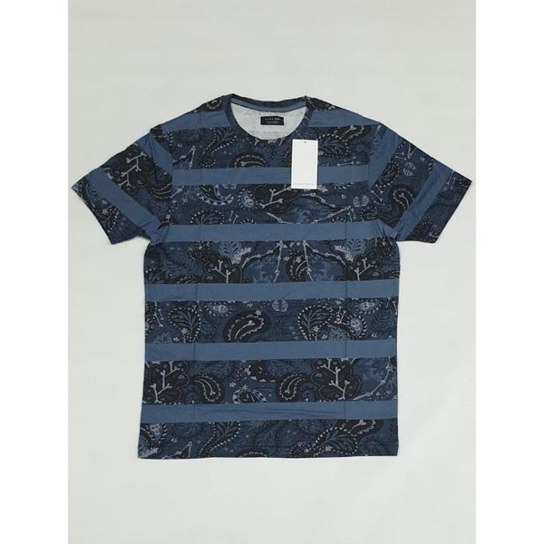 Zara Man Blue Floral Crew Neck Shirt