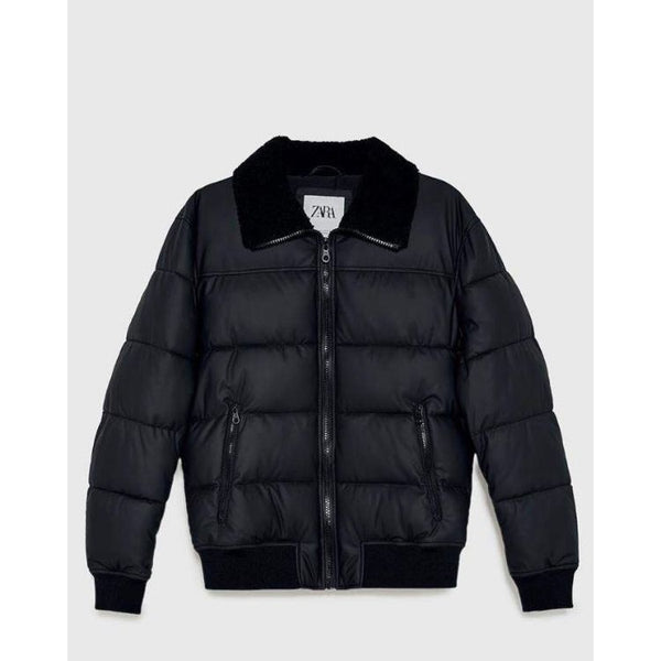 ZR Black Fur Collar Puffer Jacket
