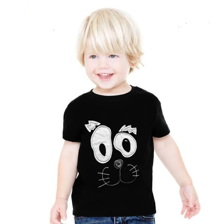 Zr kids confused cat applique embroidered t-shirt