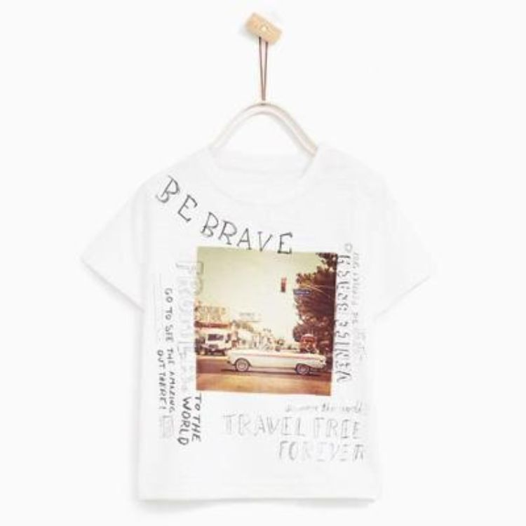 Zr kids 'be brave' car printed t-shirt