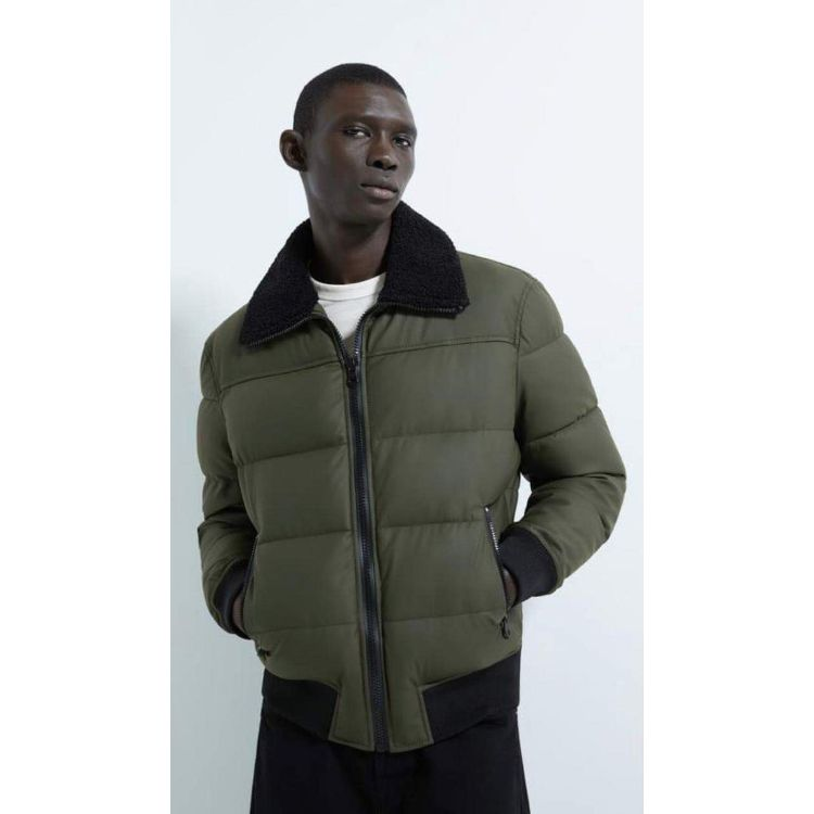 ZR Olive Fur Collar Puffer Jacket