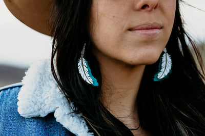 TFB Leather Feather Earrings