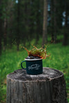 Mountain Girl Camping Mug (teal+white)