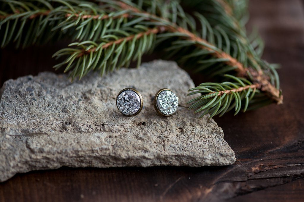 Druzy Studs in Setting