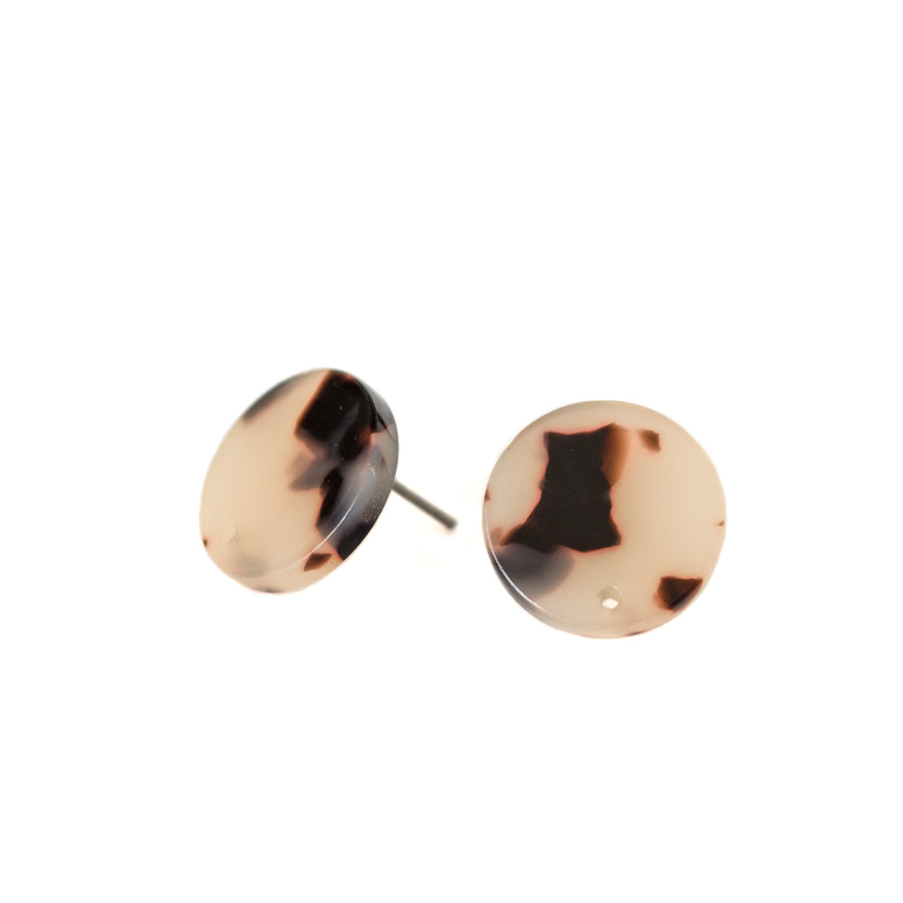 Brown+Soft Pink Tortoise Shell Studs
