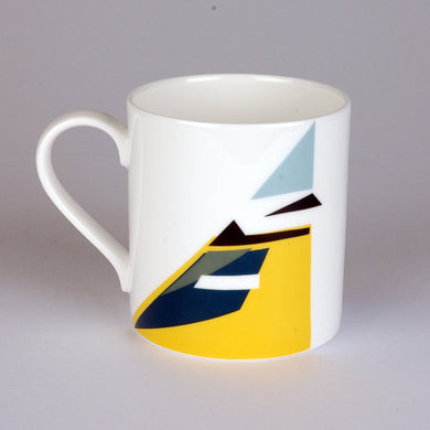 Fine Bone China Mug with Geometric Blue tit design