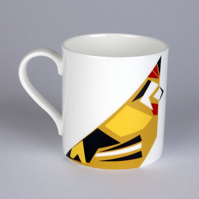 Fine bone china mug with geometric Goldfinch design