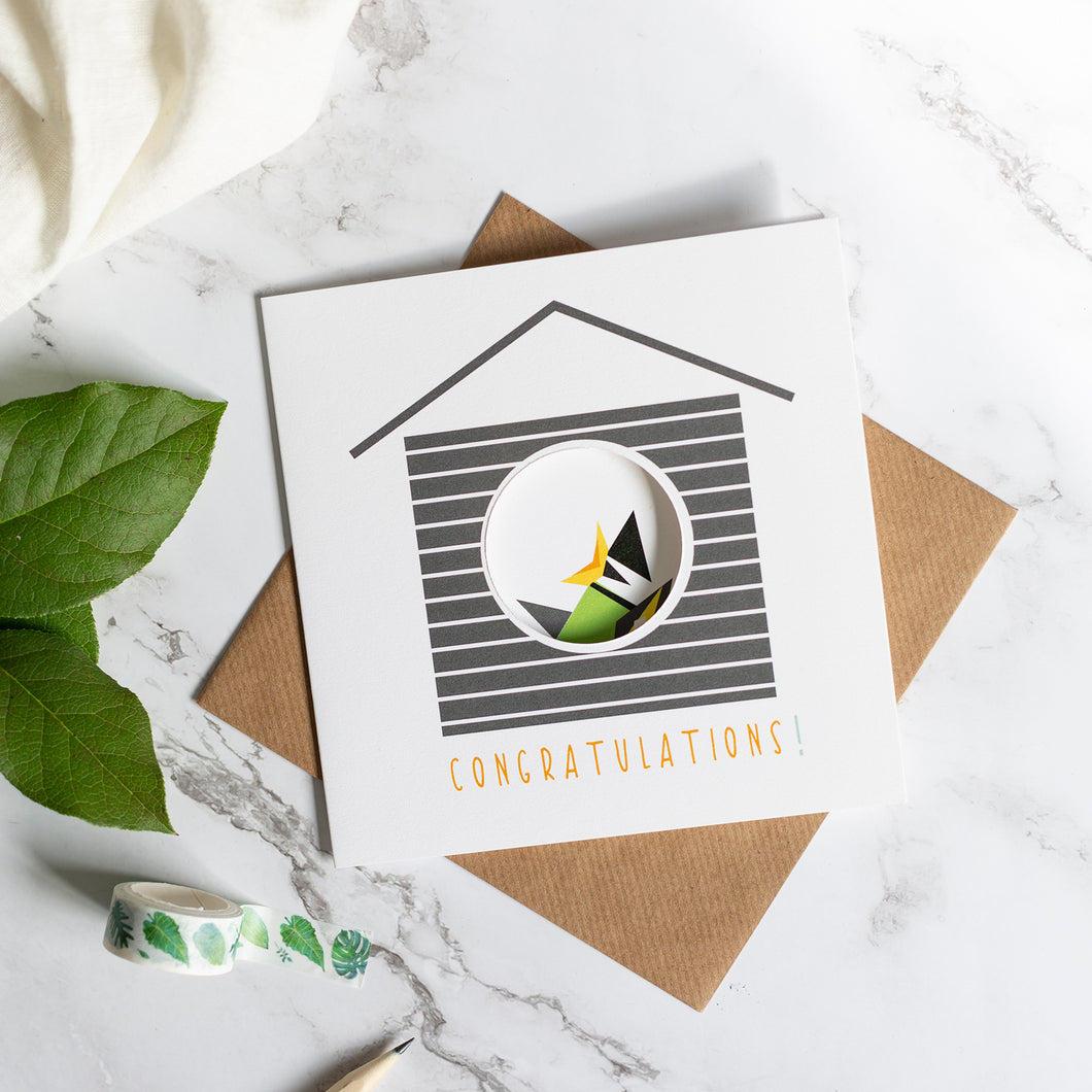 Birdhouse Card - Congratulations -Hatchling