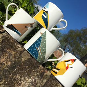 4 x Fine Bone China Mugs (All Designs)