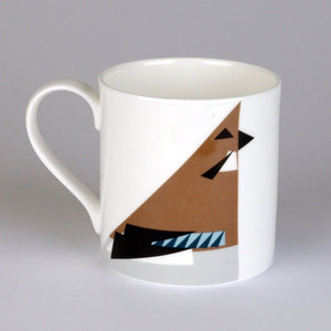 Fine bone china mug featuring a geometric design of a Jay bird