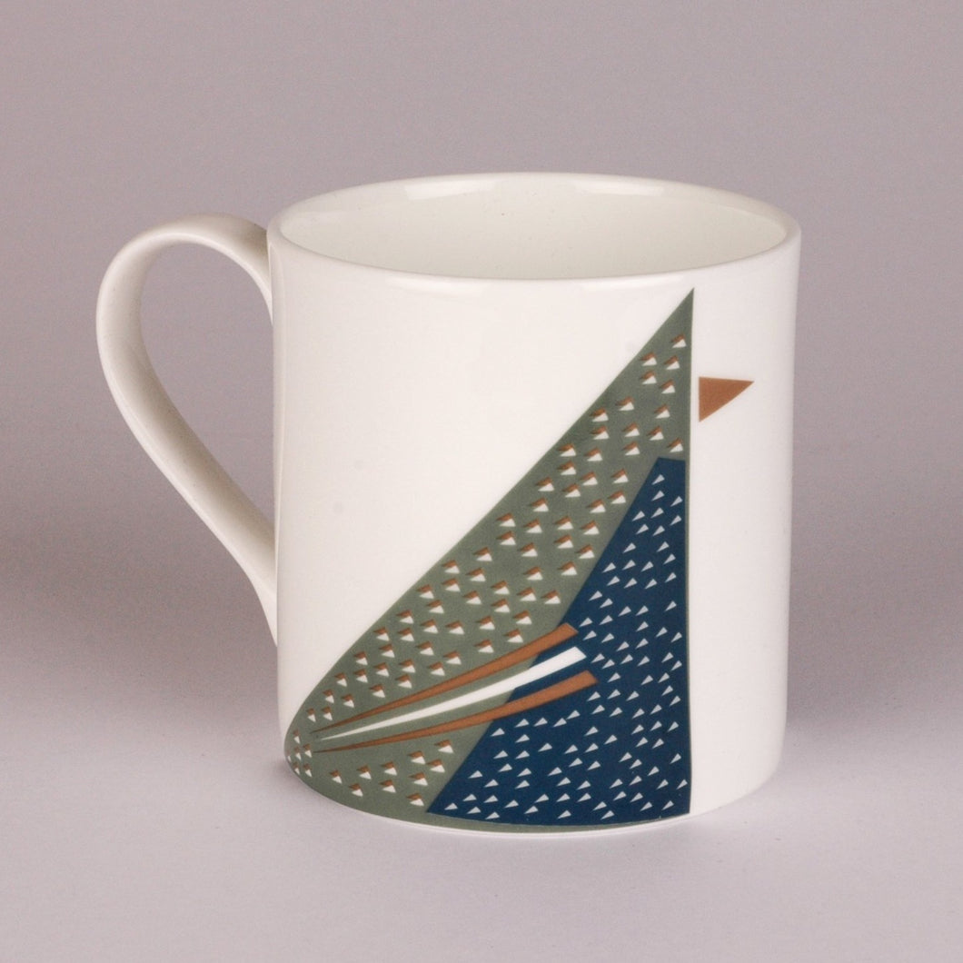 Fine Bone china mug featuring geometric Starling Bird design
