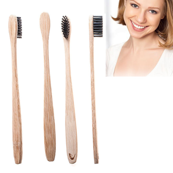 Natural Bamboo Toothbrush With Charcoal Bristles