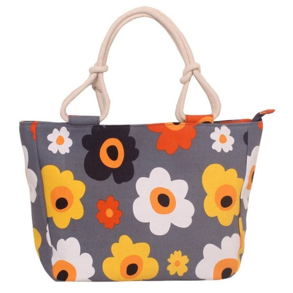 Patterned Colorful Canvas Handbag